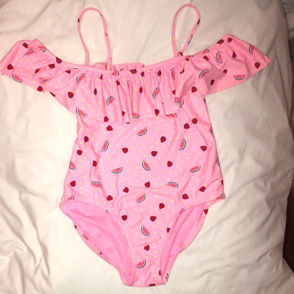 a1c19f25491 Old Navy Girls XXL Pink Ruffle Print 1 Piece NWOT.  M_5bea3402df0307500fcb2a60
